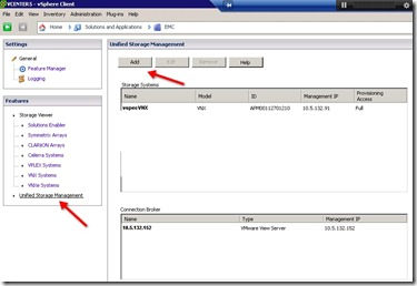 2 - Click on Unified Storage Management on the left - then click add
