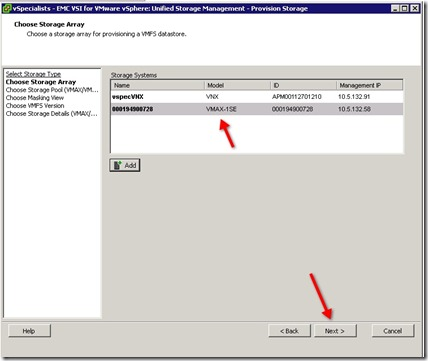 22 - Select the array you want to provision from - VMAX in this case