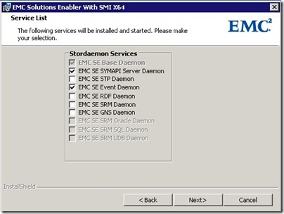 default service list with SYMAPI Server Daemon Selected