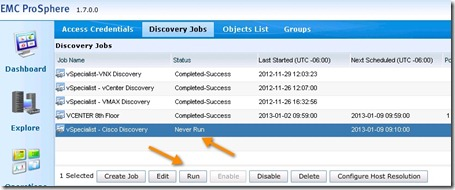 17 - verify the job was created - notice its never been run before - now click run