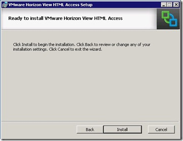 5 - Ready to install VMware Horizon View HTML Access