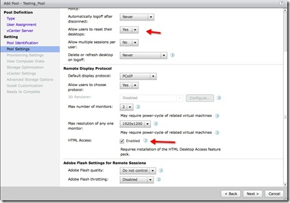 8 - Pool Settings - Notice the new HTML option